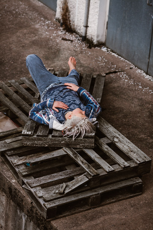 Using a stack of weathered wooden pallets for an urban photo session - view from above