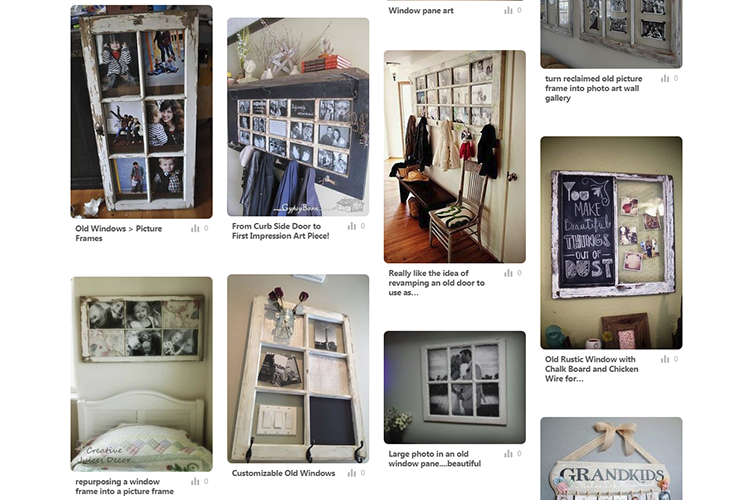 "Screenshot of my Pinterest ""Living with your photographs"" board featuring reburshed doors and windows as photo frames"