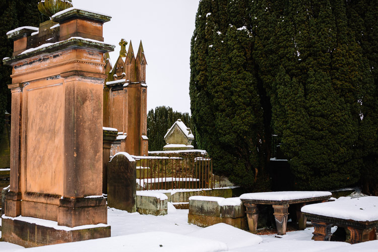 The old St Michael's cemetery in the snow