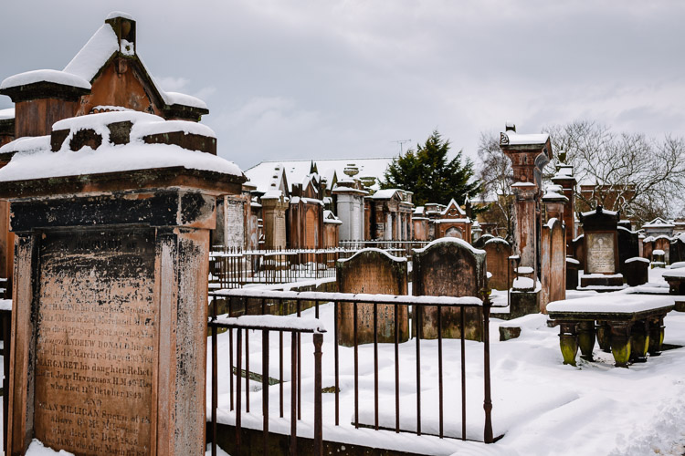 Snow covered graves in St Michaels churchyaerd