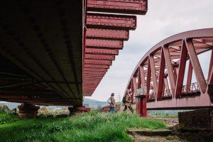 The arch of the railway bridge on Dumfries-Glasgow line vis-a-vis Jenck's garden red bridge