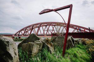 Triple bridge landscape garden perspective projection