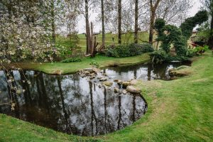 Landscaped river stone crossing