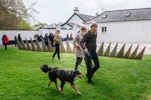 No weekend without four-legged friends - walking a dog along Fractal Terrace