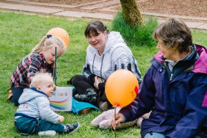 Picnic on the grass during Portrack Garden Open Day