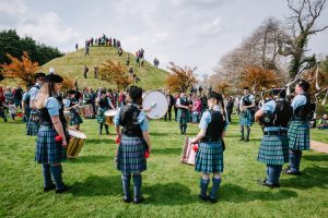 The Upper Nithdale Pipe Band performing in Portrack Garden
