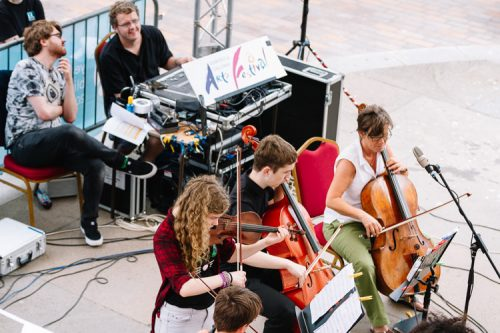 Players from Music Consortium on the Plainstanes stage - a view from above