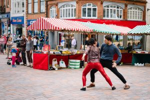 Pop-Up Duets performed to the accidental audiences of Dumfries Saturday Market