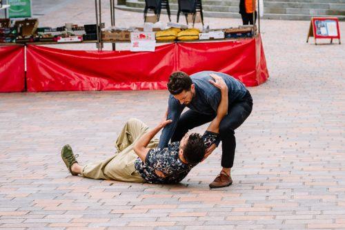 Provocative dance duets designed for public spaces