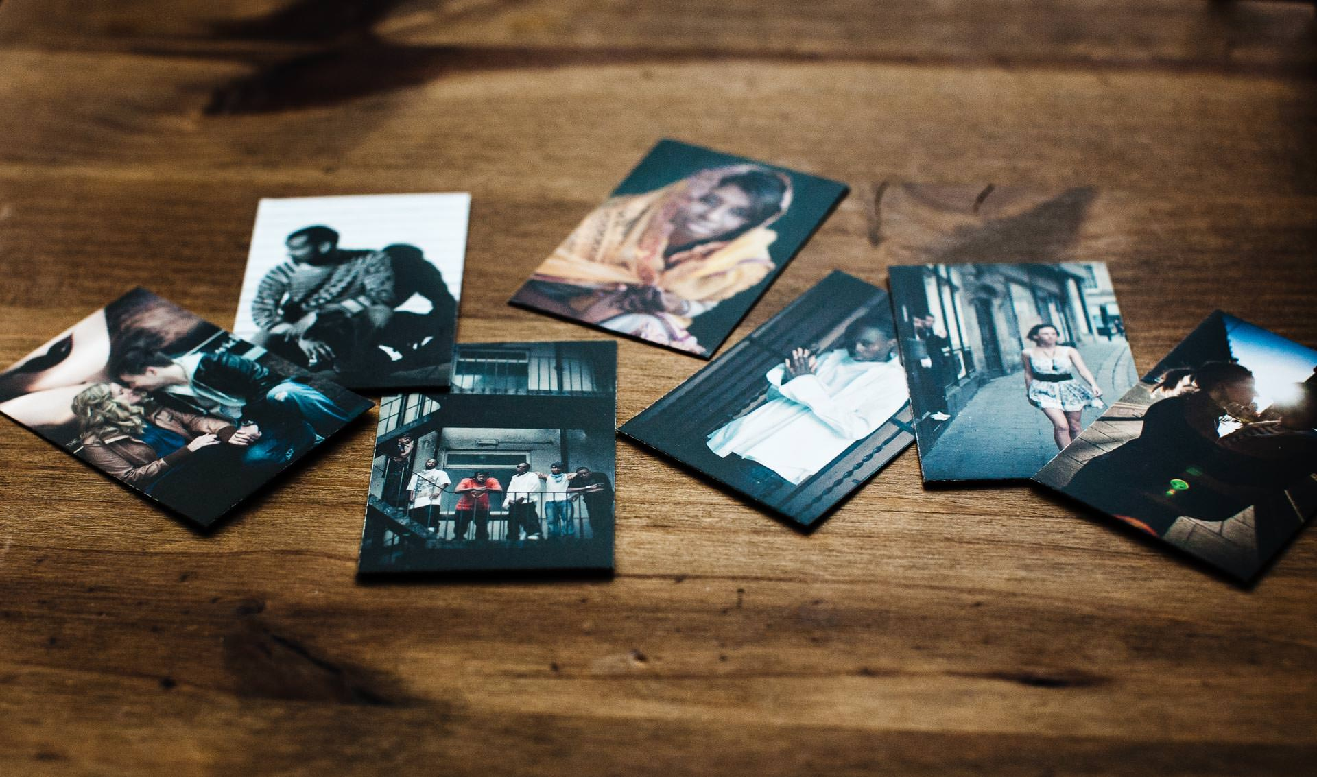 Urban portrait cards on wooden surface