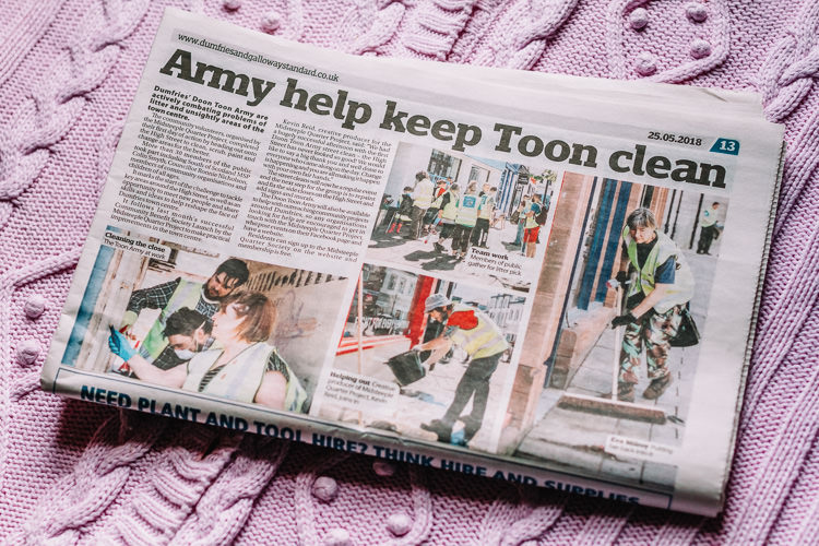 Tear sheet from Dumfries and Galloway Standard featuring my photos from Doon Toon Army first meet and clean