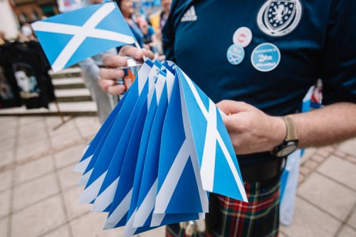 Little saltire flags distributed to the marchers