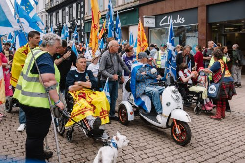 Disabled in their wheelchairs protest against Westminster disability payment cuts