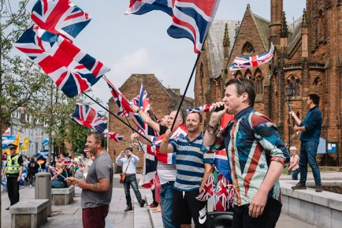 Rule, Britannia anthem was played from the loudspeakers as a handful of pro-Union activists met the Scottish independence marchers