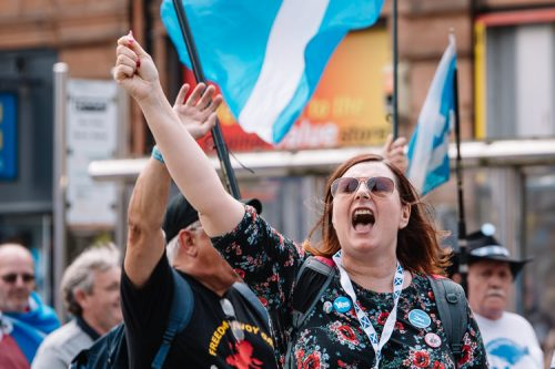 High spirits among Dumfries marches