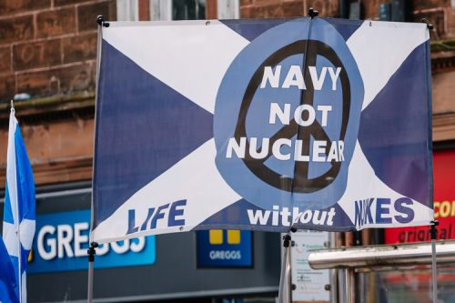 Anti-nuclear banner in the AUOB organised Dumfries march for Scottish Independence