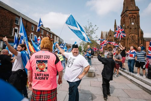 Tartan Army, Scotland's national football team fans, at Dumfries march