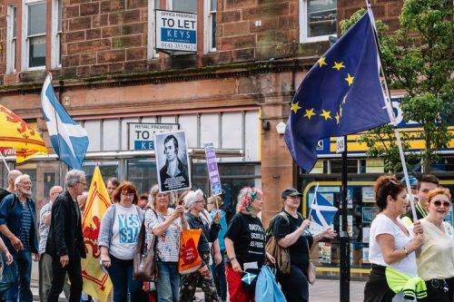 EU stars and Robert Burns portrait from Berwickshire Granarchists