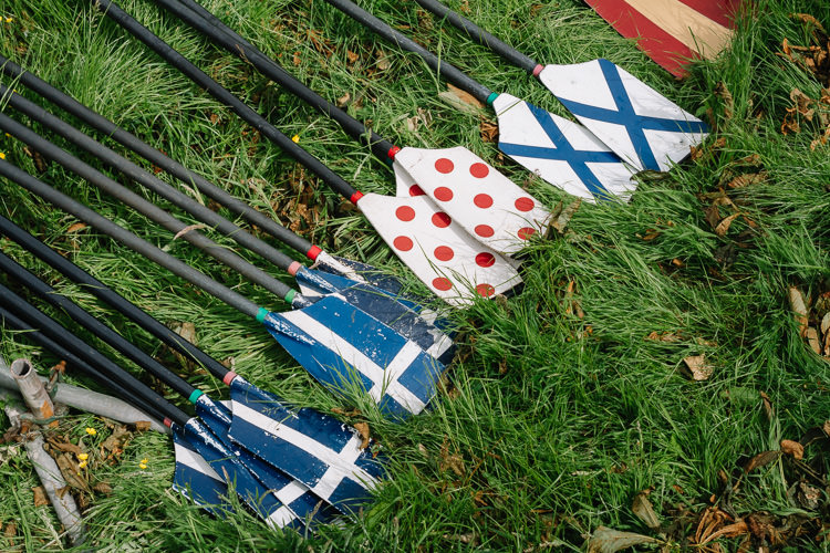 Oars bearing club colours