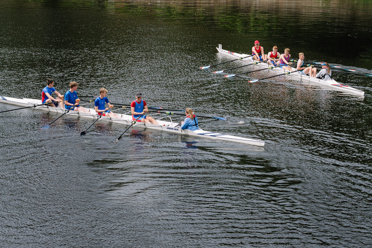 Two boats after their race on the river Nith