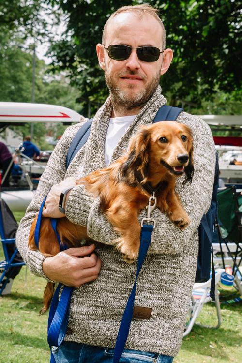 Regatta spectator with his dog