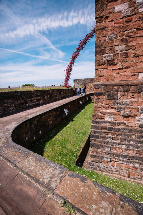 A unique feature of Carlisle version of Weeping Window - you can view part of the installation from beneath as you walk around the castle keep