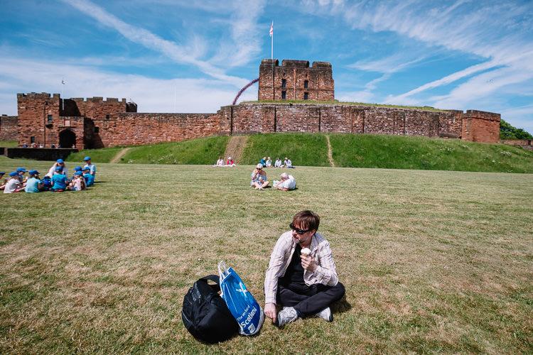 Eating ice cream outside Carlisle Castle