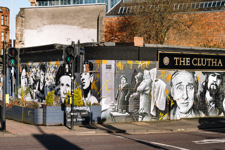 The corner of the Clutha Bar in Glasgow with its 2015 mural wrap