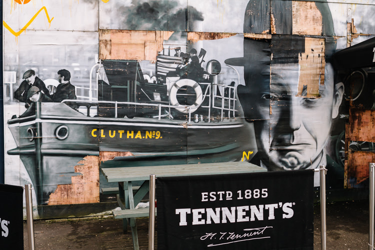The boat of the river Clyde and Stan Laurel, Laurel and Hardy Star, depicted on the Clutha Bar mural