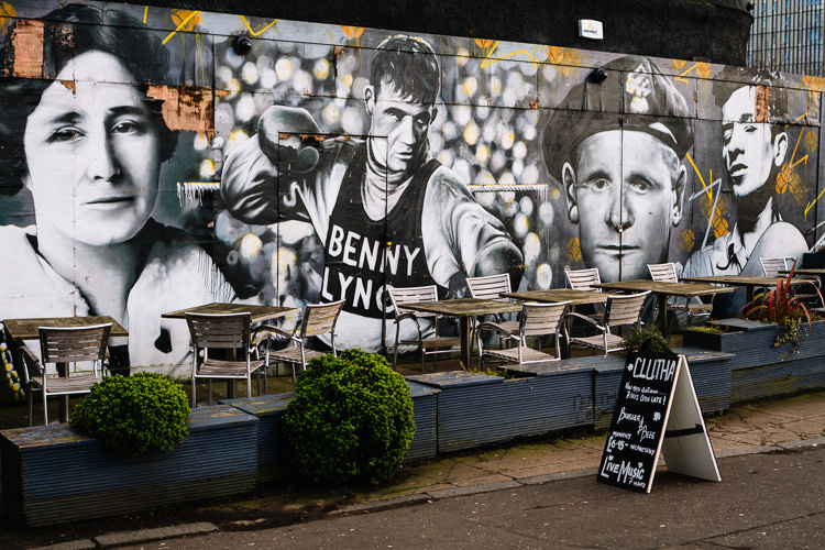 Famous faces from the Clutha Bar visitors history - Mary Barbour, Benny Lynch, Johnny Ramensky and Woody Guthrie