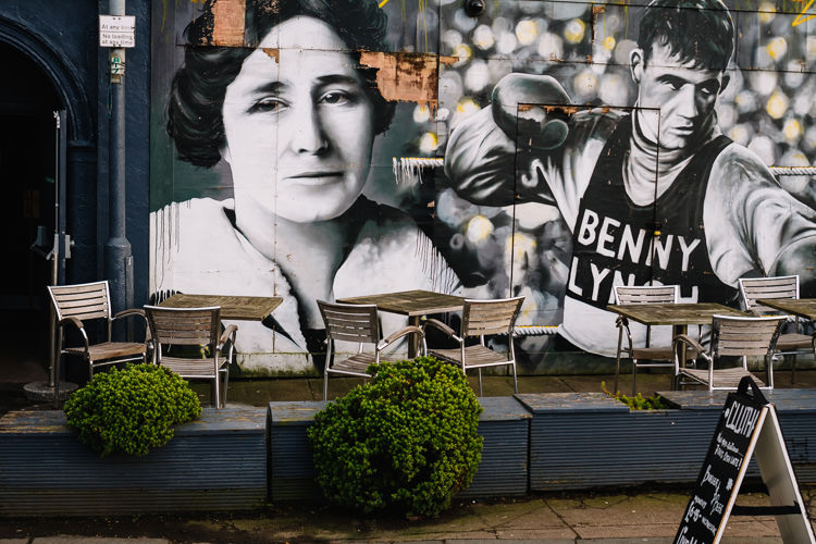 Fragment of Rogue One's Glasgow Clutha murals - Scottish socialist Mary Barbour and boxing champion Benny Lynch