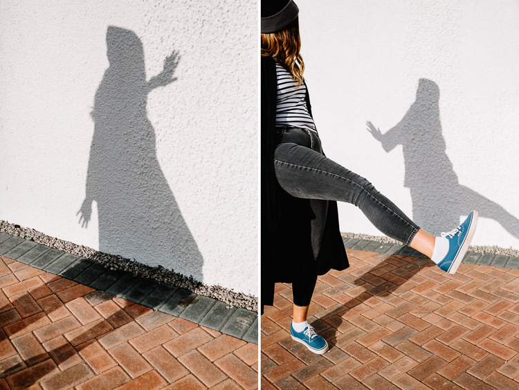Playing with movement and projecting shadows onto the wall during my urban portrait workshop