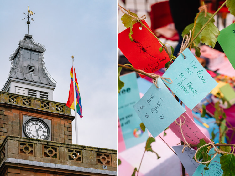 Rainbow flag flies over the Midsteeple Quarter in Dumfries; note of support and acceptance at LGBT Youth Scotland stall