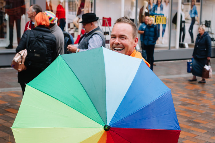 Johnathon of LGBT Plus with his rainbow brolly