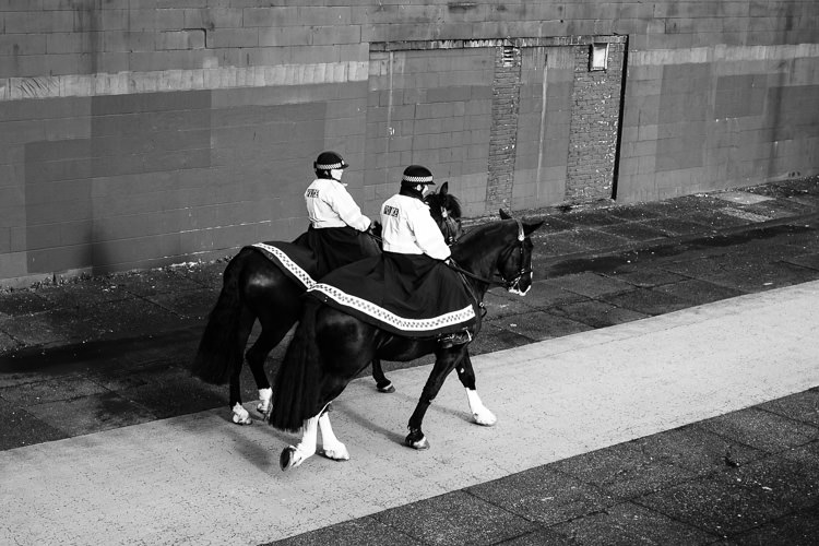 Horse police patrol on the Clydeside promenade