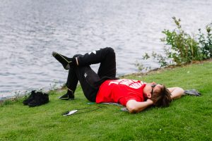 Having an afternoon nap near the river