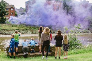 Doonhamers watch the smoke floating over their beloved Rosefield Mill building