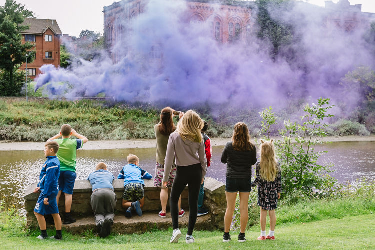 Doonhamers watch the smoke floating over their beloved Rosefield Mill building