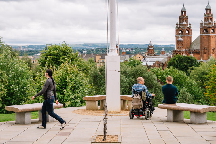 Street photography - Glasgow University flagpole viewing terrace
