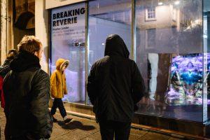 A tiny bit of rain didn't deter art lovers from enjoying Breaking Reverie art work