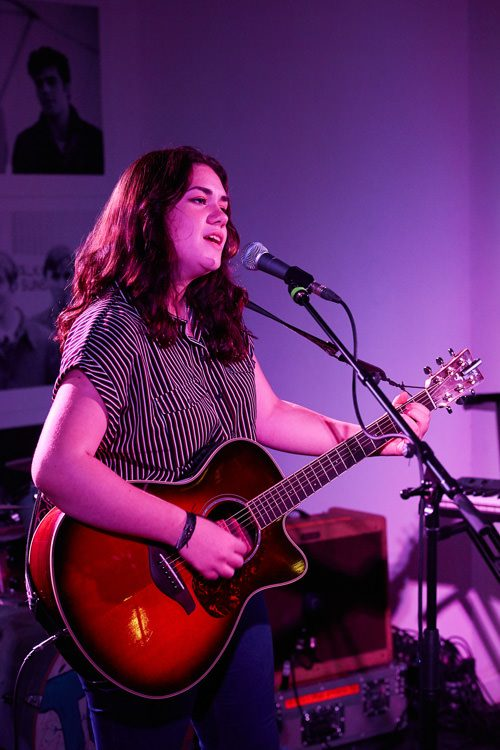 Liv McDougall , a 14-year old signer/songwriter from Dumfries, performs at DMC Showcase 2018