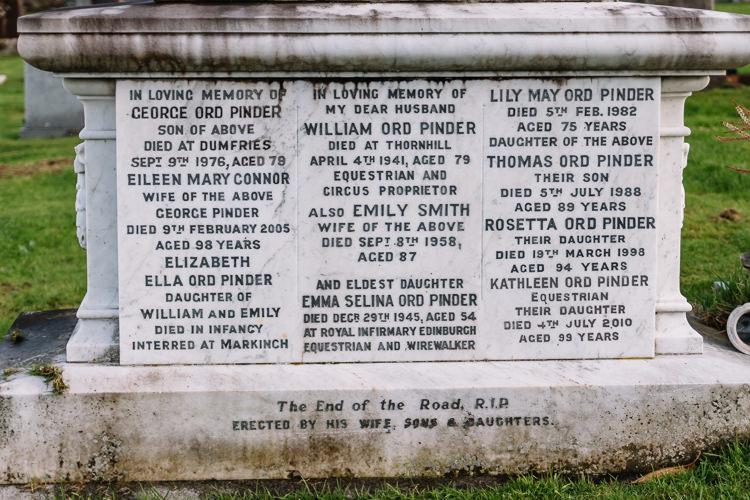 Pinder family memorial carved pedestal - detail