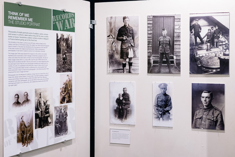 Records of War exhibition display about the studio portrait photography during WW1