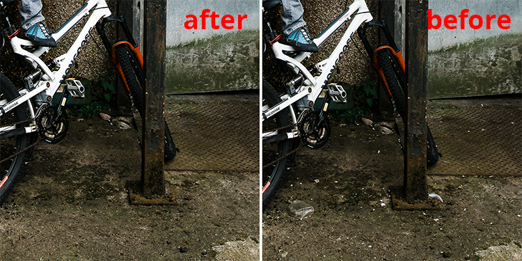 Closeup of urban portrait retouching - before and after. Retouching urban gunk causes photographer injuries