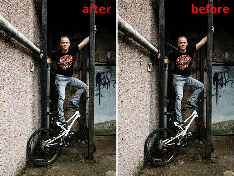 Before and after example of retouching urban detritus from wide angle urban portraits