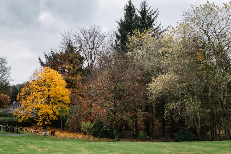 Vibrant autumn foliage at the bottom of the graveyard in Dumfries