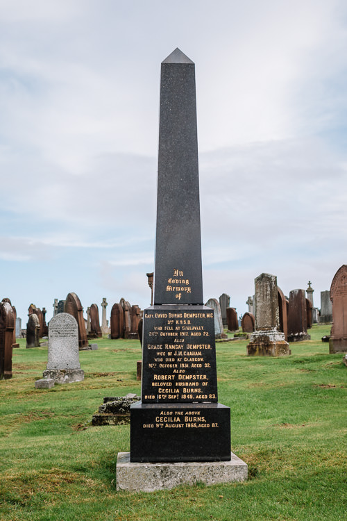 Burns/Dempster family tombstone at Dumfries High Cemetery, commemorating Capt. David Burns Dempster who fell at Gheluvelt in 1917