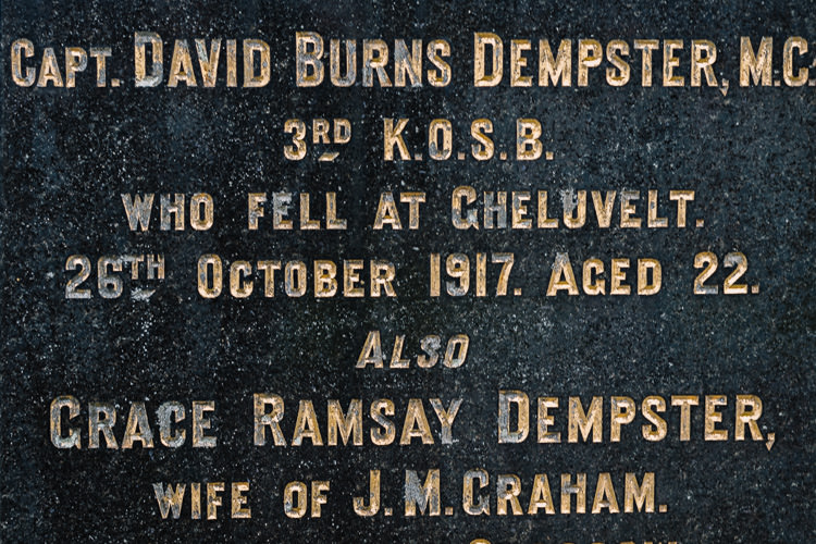 """Capt. David Burns Dempster, M.C., 3rd K.O.S.B, who fell at Gheluvelt. 26th October 1917. Aged 22."""