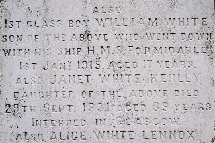 The White family tombstone mentioning 17-year old William White whose ship was torpedoed