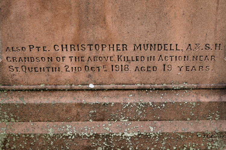 Pte. Christopher Mundell, A.&.S.H., killed in action near St Quentin, 2nd October 1918, aged 19 years.